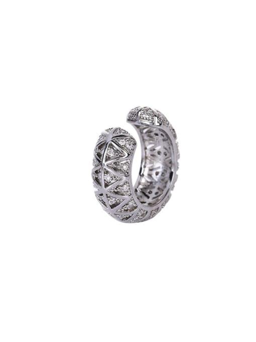 OUOU Brass Cubic Zirconia Geometric Vintage Clip Earring 3