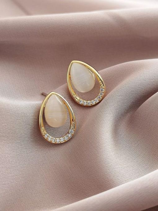 14k Gold Brass Cats Eye Geometric Vintage Stud Earring