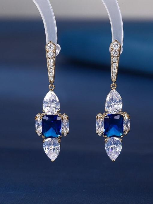 blue Brass Cubic Zirconia Cross Luxury Stud Earring