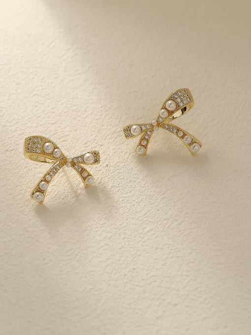 HYACINTH Brass Imitation Pearl Bowknot Vintage Stud Earring
