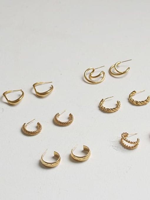 ACCA Brass  Smooth Irregular Vintage Stud Earring 4