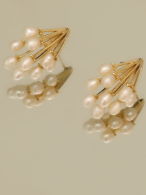 14K gold Copper Imitation Pearl Geometric Vintage Stud Earring