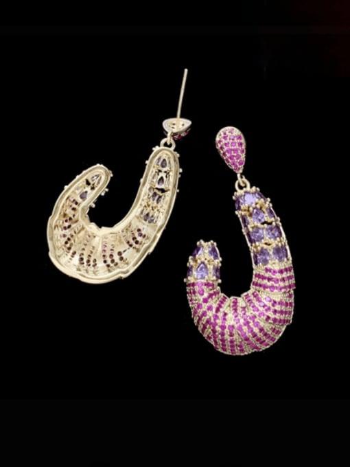 SUUTO Brass Cubic Zirconia Irregular Luxury Drop Earring 1