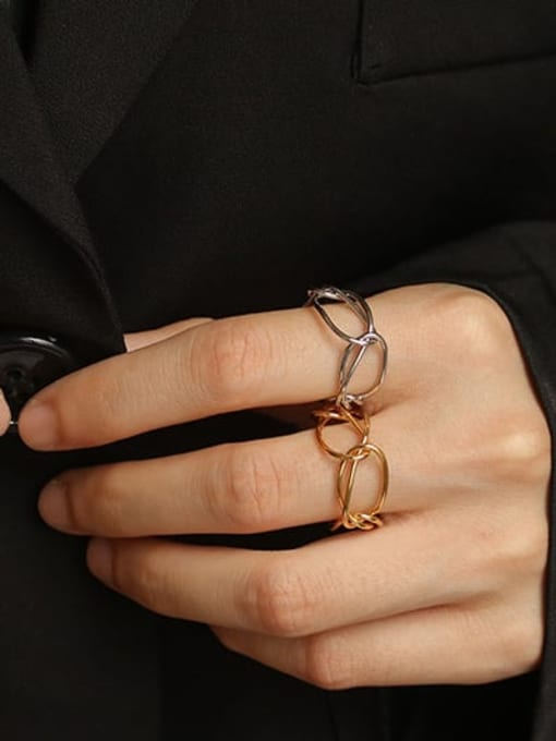 ACCA Brass Hollow Geometric Minimalist Band Ring 1