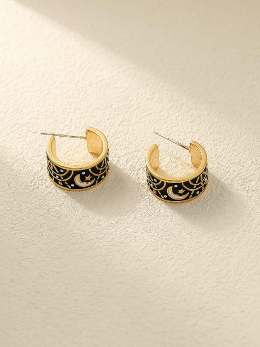 Nostalgic gold Brass Enamel Geometric Vintage Stud Earring