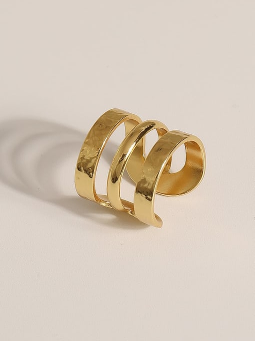 JZ096 Brass Geometric Vintage Band Ring