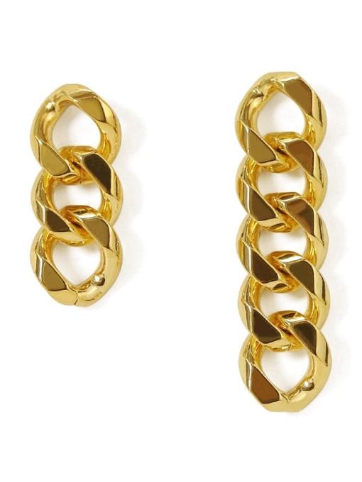 ACCA Brass Hollow Geometric Chain Asymmetry Minimalist Drop Earring 3