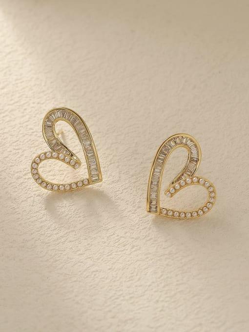 HYACINTH Brass Cubic Zirconia Heart Cute Stud Trend Korean Fashion Earring 0