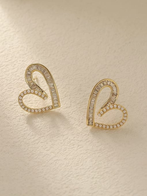 HYACINTH Brass Cubic Zirconia Heart Cute Stud Trend Korean Fashion Earring