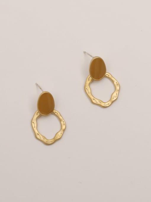 Golden brown Brass Enamel Geometric Vintage Stud Earring