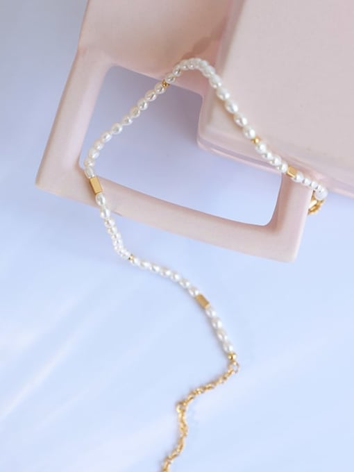 Five Color Brass Freshwater Pearl Geometric Hip Hop Necklace