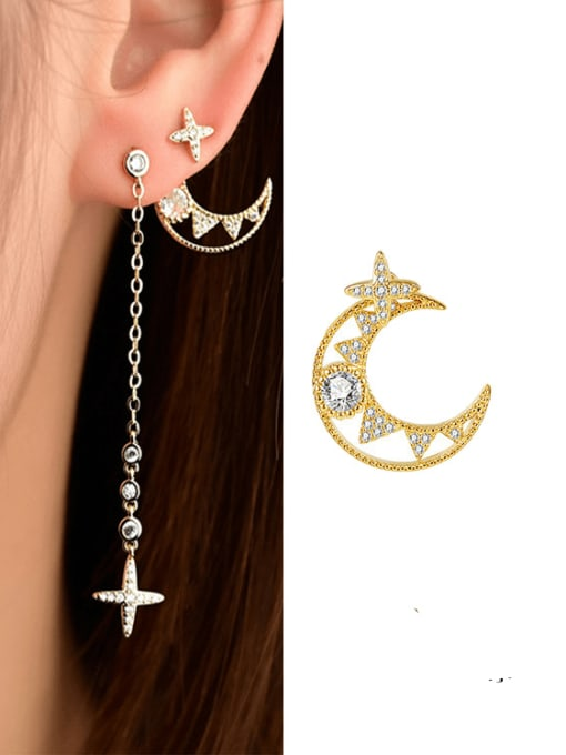 OUOU Brass Cubic Zirconia Minimalist Asymmetric moon tassel Drop Earring 1