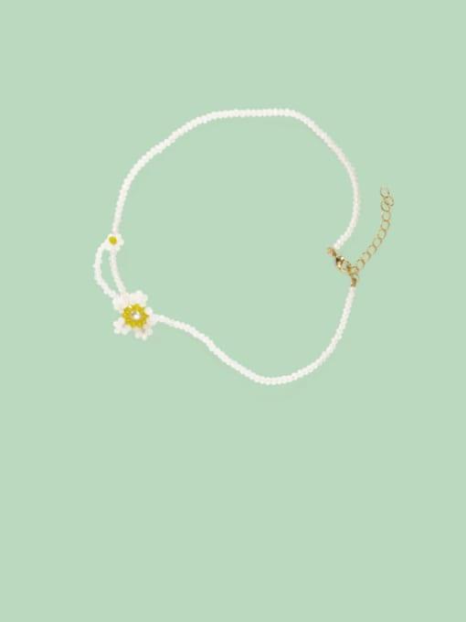 Five Color Alloy Bead Geometric Cute Necklace 0