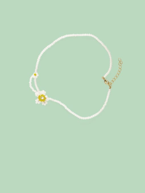 Five Color Alloy Bead Geometric Cute Necklace