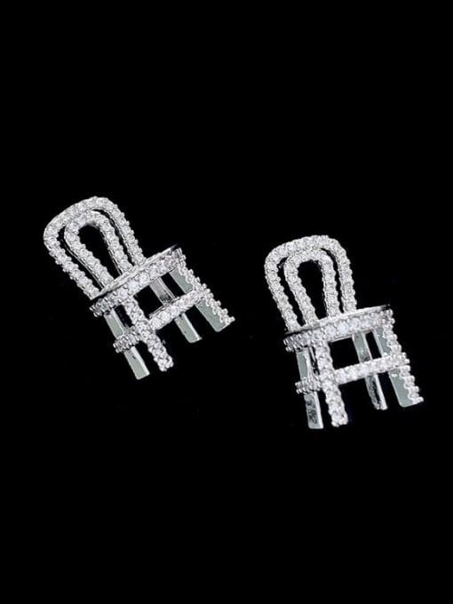 SUUTO Brass Cubic Zirconia Irregular Dainty Stud Earring 1