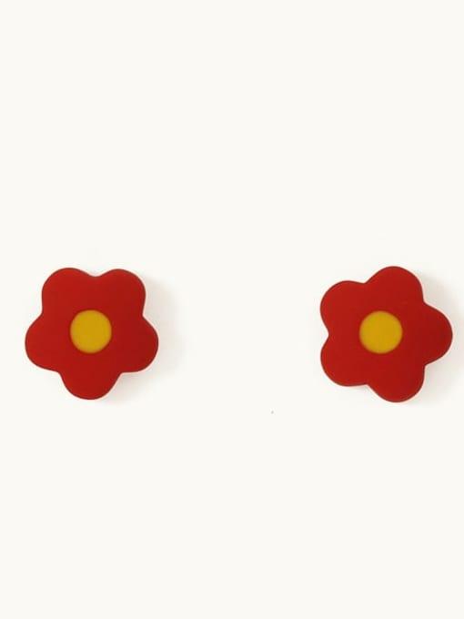 Huang Hong Alloy Enamel Flower Cute Stud Earring