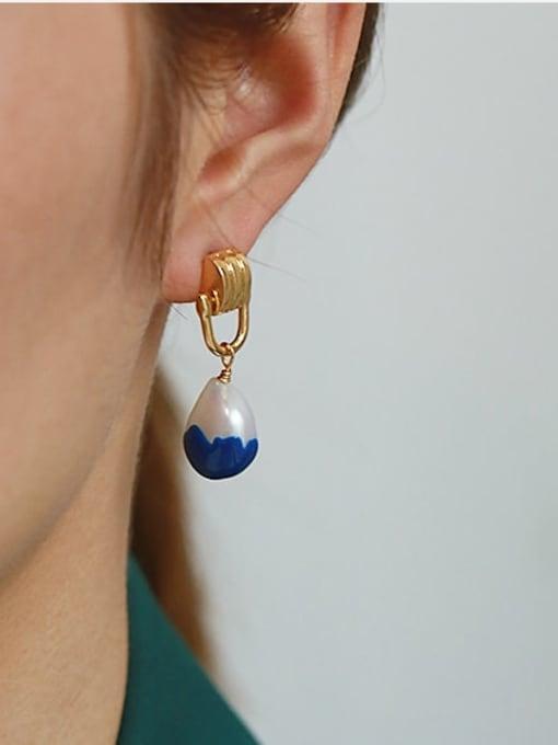 ACCA Brass Enamel Geometric Vintage Drop Earring 1