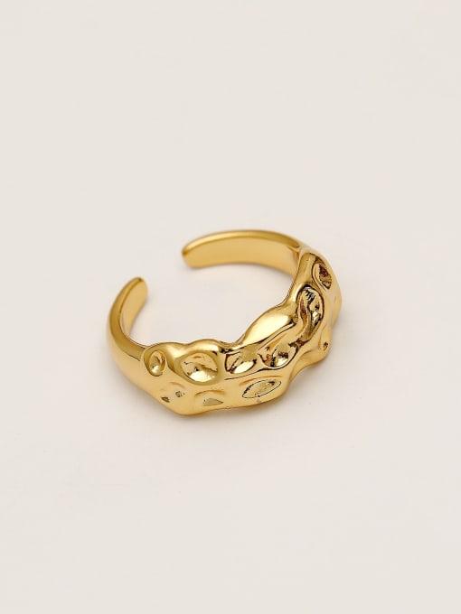 14k Gold Brass Irregular Vintage Band Ring