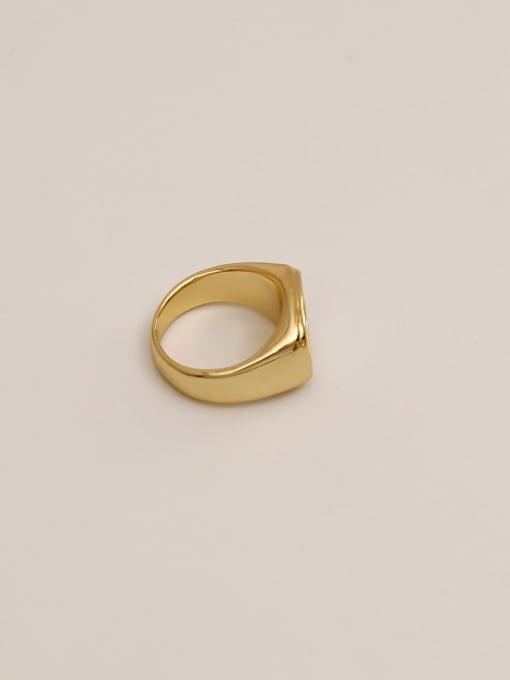 HYACINTH Brass Shell Geometric Vintage Band Ring 3