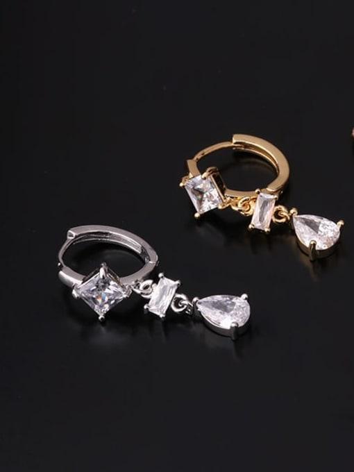 HISON Brass Cubic Zirconia Geometric Hip Hop Huggie Earring 4