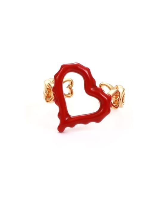 Hollow ring Zinc Alloy Enamel Heart Minimalist Band Ring