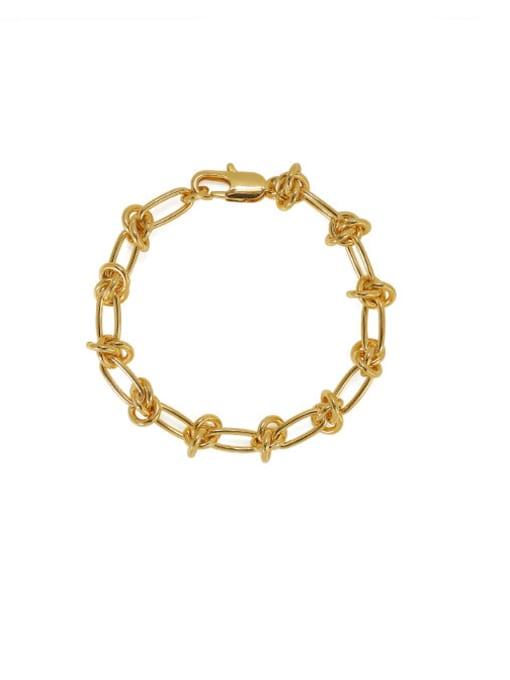 golden Brass Hollow Geometric Chain Hip Hop Link Bracelet