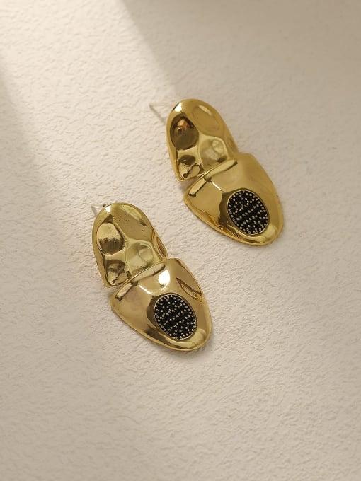 HYACINTH Brass Irregular Vintage Stud Earring 2