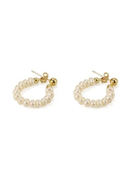 Earrings Brass Freshwater Pearl Geometric Vintage Chandelier Earring