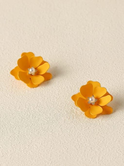 orange Brass Enamel Flower Cute Stud Trend Korean Fashion Earring