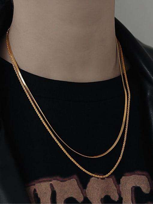 TINGS Bronze Geometric Hip Hop Multi Strand Necklace 2