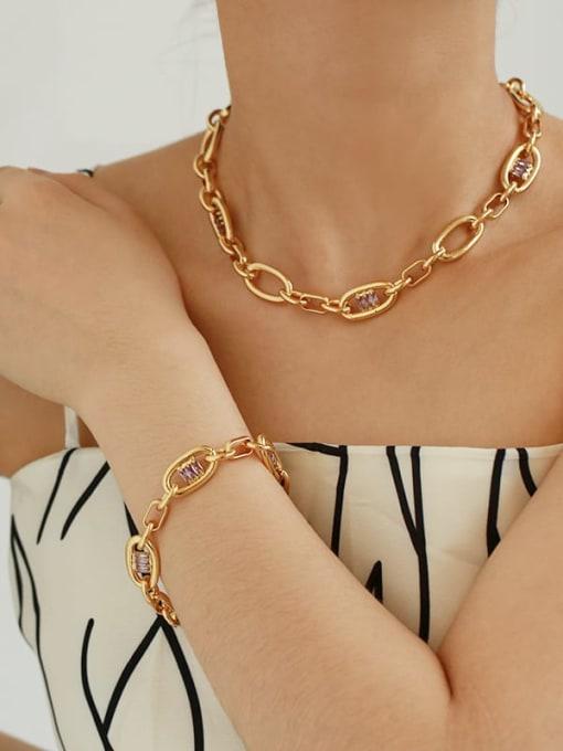 TINGS Brass Cubic Zirconia Geometric Hip Hop Necklace 1