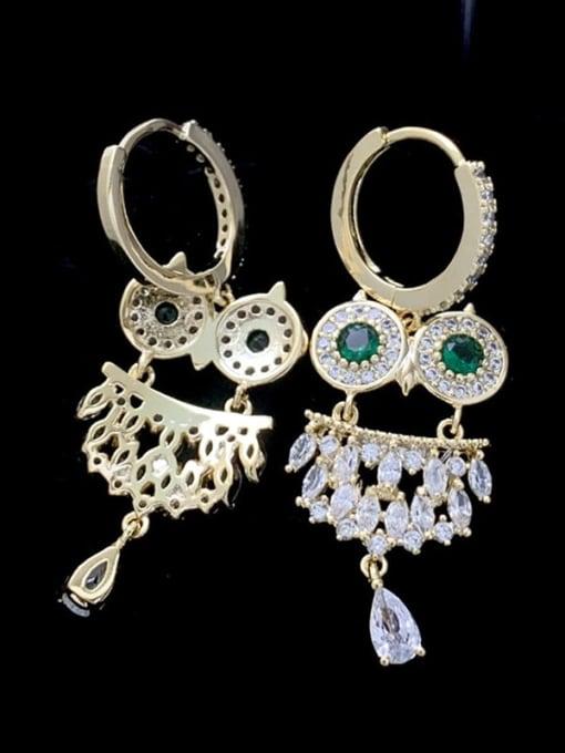 green Brass Cubic Zirconia Owl Cute Huggie Earring