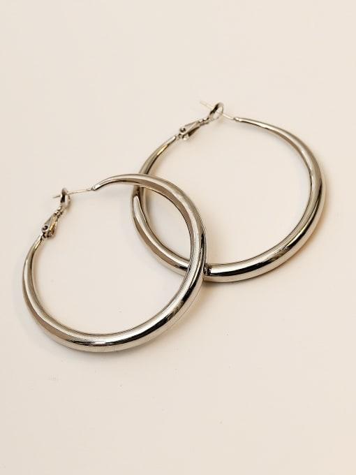 White K Brass Smooth Geometric Minimalist Hoop Earring