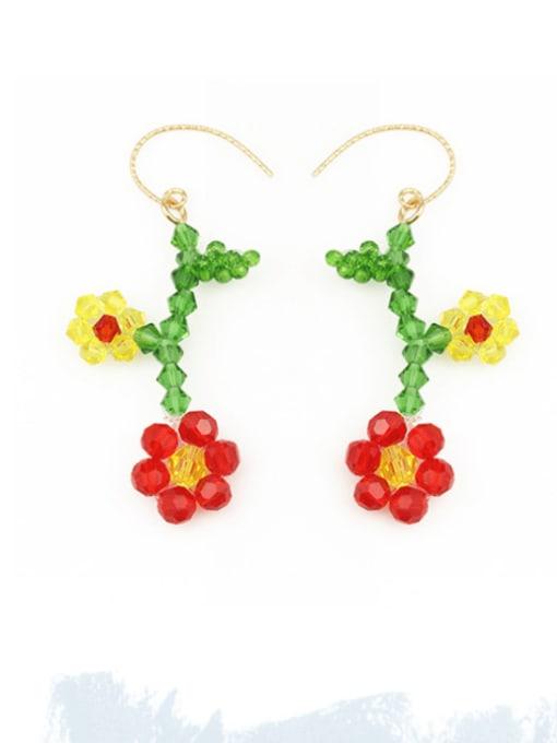 Five Color Alloy Bead Flower Minimalist Hook Earring