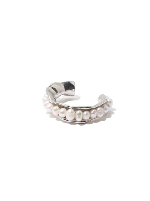 TINGS Brass Imitation Pearl Geometric Vintage Band Ring 0