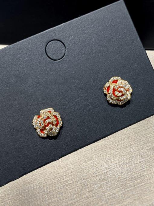 SUUTO Brass Cubic Zirconia Flower Cute Stud Earring 1
