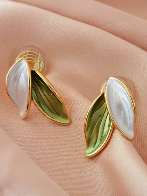 14K golden fruit green white  ear clip Brass Enamel Tree Minimalist Clip Earring