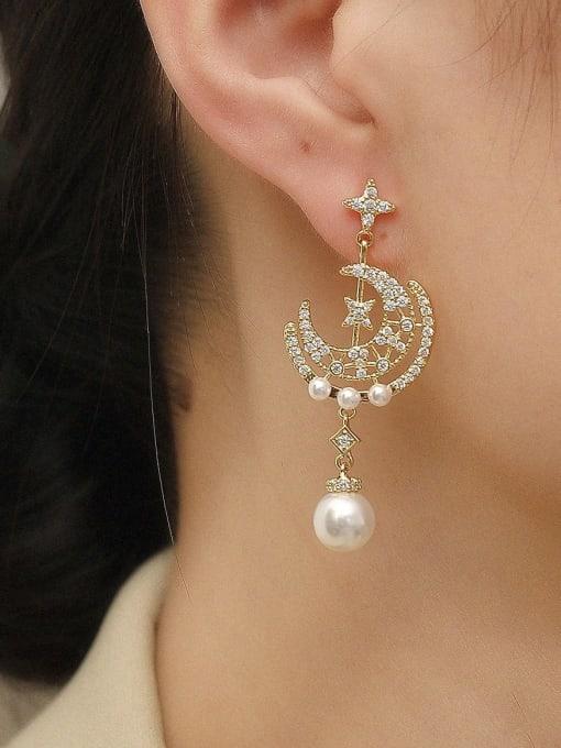 HYACINTH Brass Cubic Zirconia Asymmetry Moon Vintage Drop Trend Korean Fashion Earring 1