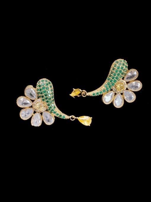 SUUTO Brass Cubic Zirconia Flower Vintage Stud Earring 2