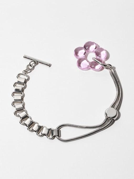 Pink flowers (adjustable) Brass Hollow Heart Vintage Link Bracelet
