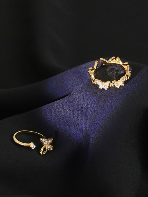 Five Color Brass Cubic Zirconia Butterfly Minimalist Band Ring 3