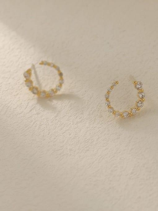 HYACINTH Brass Cubic Zirconia Geometric Minimalist Stud Trend Korean Fashion Earring 2