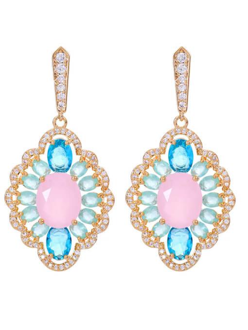 Pink Jade Brass Cubic Zirconia Geometric Luxury Drop Earring