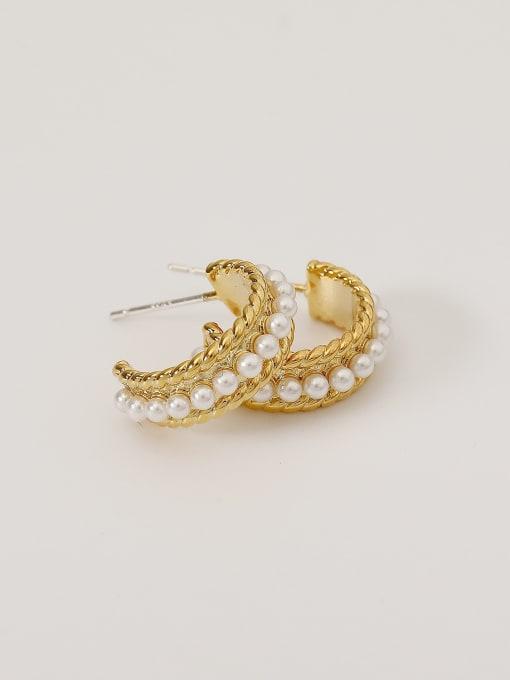 HYACINTH Alloy Imitation Pearl Geometric Minimalist Stud Earring