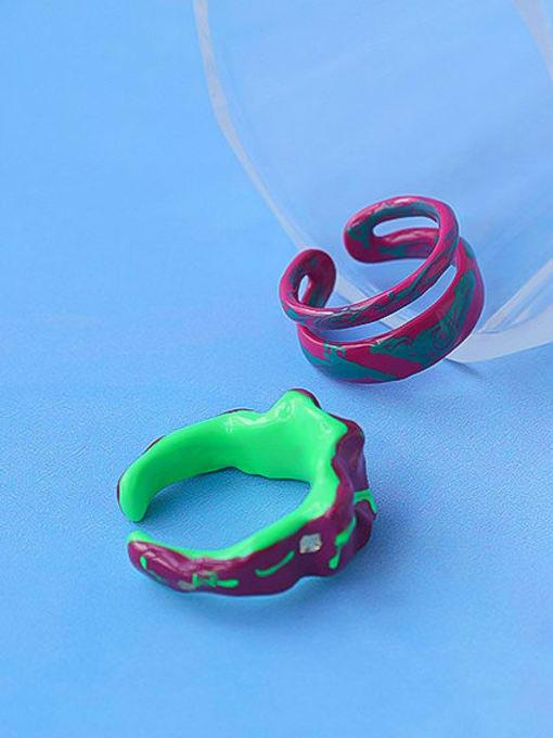 Five Color Zinc Alloy Enamel Irregular Minimalist Stackable Ring 0