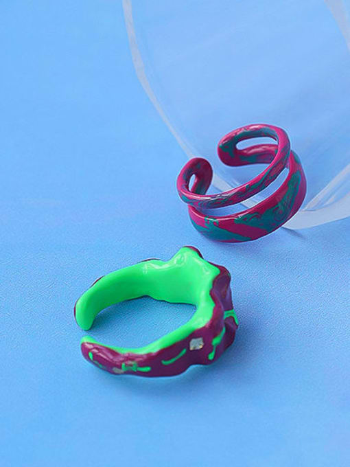 Five Color Zinc Alloy Enamel Irregular Minimalist Stackable Ring