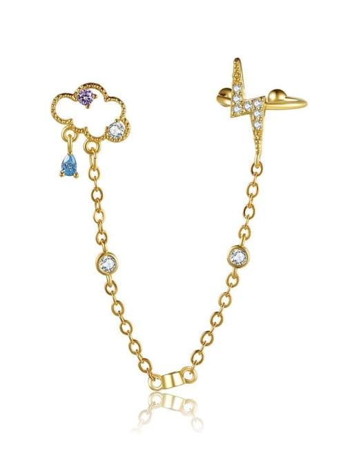 18K Gold Brass Cubic Zirconia Irregular Minimalist Single Earring