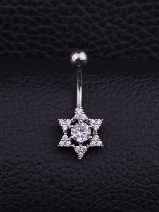 F Single Stainless steel Cubic Zirconia Flower Hip Hop Belly Rings & Belly Bars