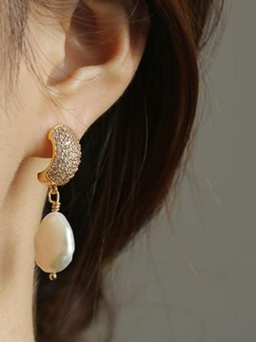 ACCA Brass Freshwater Pearl Geometric Classic Chandelier Earring 1