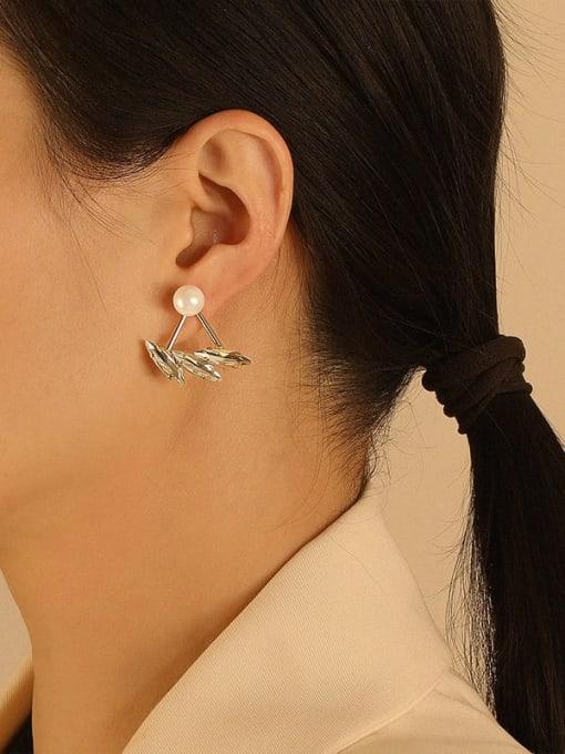 HYACINTH Brass Imitation Pearl Irregular Ethnic Stud Earring 1